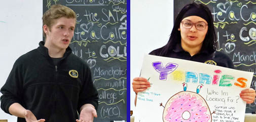 Who's the Boss? Alex Strevel (fitness club) and Yanneliz Perez (doughnut shop) tell their classmates what they are looking for in an employee.